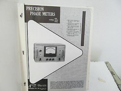 AD-Yu 405, 405H, 405L Precision Phase Meters Operating Instructions w/schematics