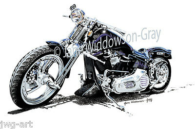Hand-drawn HARLEY-DAVIDSON Customized Springer Softail 8x12(A4) Print RRP $19.95