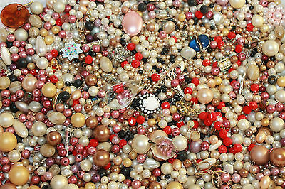 LARGE LOT OF VINTAGE BEADS SALVAGED FROM VINTAGE ESTATE JEWELRY - 2 1/2 POUNDS!!