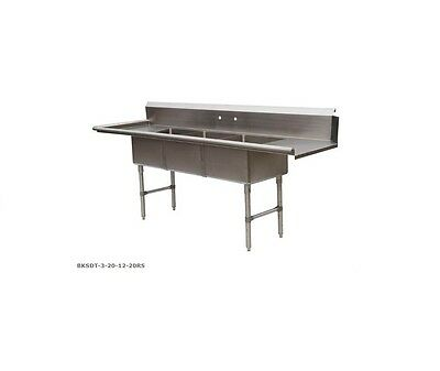 BK Resources 3 Compartment S/S DishTable w/ 20x20x12 bowl NSF BKSDT-3-20-12-20RS