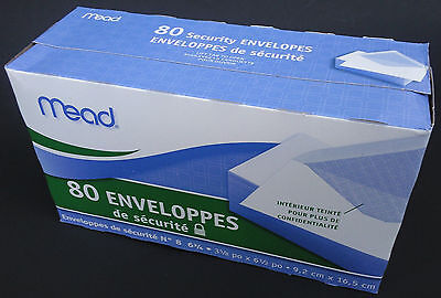 Mead Security Envelopes 6 1/2 x 3 5/8 Inch, 80 Count/Box