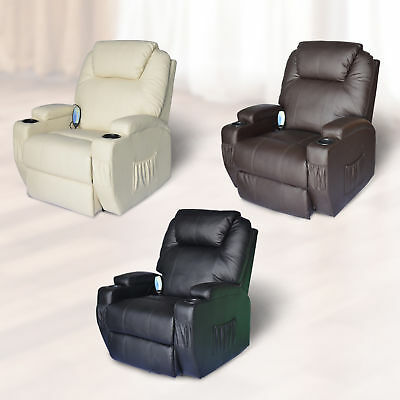 HomCom Therapeutic Heated Massage Reclining Chair Relaxing Home Furniture