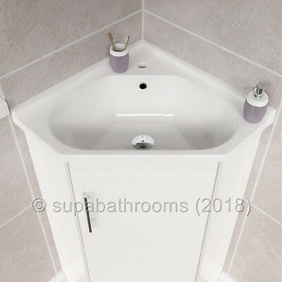 Corner Two Door Vanity Unit With Tap Choice High Gloss White Cloakroom Bathroom
