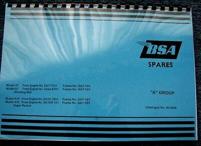 Bsa A7 Shooting Star A10 Super Rocket & Rocket Gold Star Parts Book 1959-63 Bp91