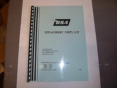 Bsa A50 Royal Star A65 Lightning Models Parts Book Manual 1969 00-5145 - Bp101