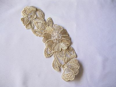 """8.75""""x3.5"""" Pink Taupe Embroidered Beaded Organza Flower Motif Applique"""