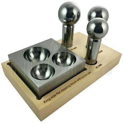 King Size Doming Block & 40mm , 45mm, 50mm  Punch Set made of Steel Dapping Tool
