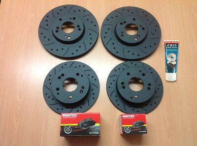 Civic Type R EP3 Front Rear Drilled Grooved MTEC Brake Discs & Mintex Pads &Lube
