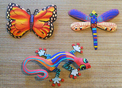 HAND PAINTED SET OF GECKO, BUTTERFLY & DRAGONFLY WALL HANGINGS