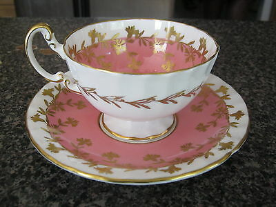 AYNSLEY TEACUP CUP SAUCER PINK & WHITE w/ GOLD TRIM & FILIGREE