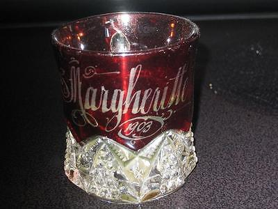 ANTIQUE RUBY CUT GLASS, FAIR SOUVENIOR, CHILDS MUG MARKED MARGHERITTE 1903 IN GC