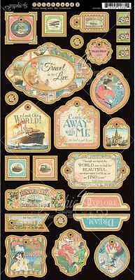 Graphic 45 Come Away with Me chipboard #2  12 x 6 sheet  26 chipboard die-cuts
