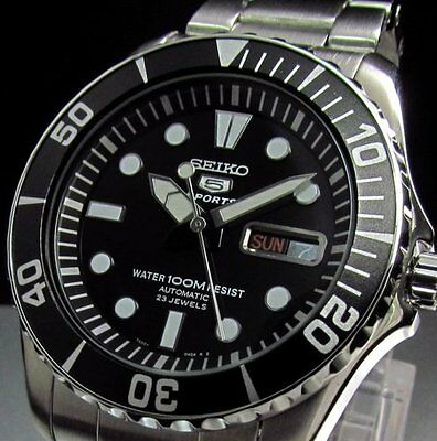 "SEIKO OROLOGIO AUTOMATICO 5 SPORTS 23 JEWELS SUBMARINER ""BLACK DIAL"" WATCH UOMO"