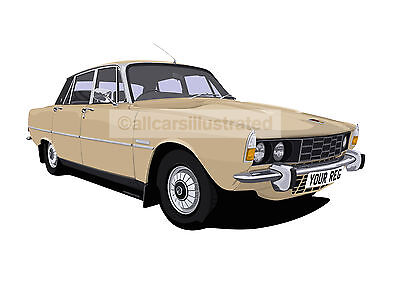 Rover P6 Car Art Print Picture (Size A3). Choose Your Colour, Add Your Reg Plate