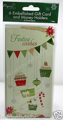 6Pk Gift Card / Money Holder Festive Wishes Ornaments Christmas Cards Wallets