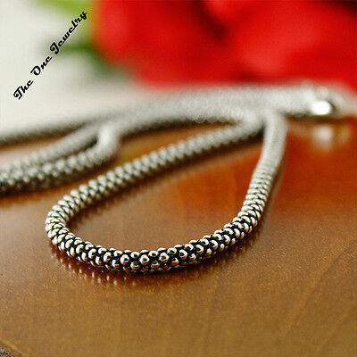 2.7mm 18 20 22 24 26 Inch Mens 925 Sterling Silver Popcorn Corn Chains Necklace