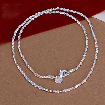 18K White Gold Plated GP Serpentine 2MM WIDE Rope Necklace Chain 16-24 inch A808