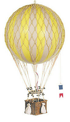 "Hot Air Balloon Model Yellow & White 13"" Hanging Aviation Decor"