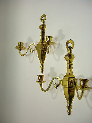Pair of Lacquered brass wall mount candlestick sconces made in India