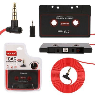 Black Car Cassette Adapter for iPod  iPhone Mobile MP3+2.5mm adapter +Microphone