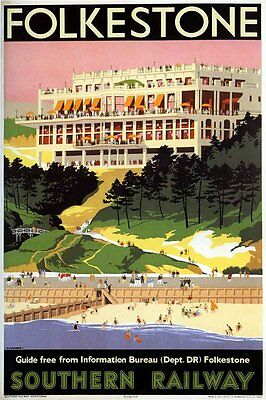 Vintage Rail advertising travel railway poster  A4 RE PRINT Folkestone