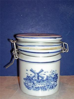 """Blue & White Windmill Teleflora Canister Jar Tight Seal Rubber Set 5"""" Blue"""