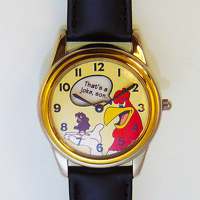 Fossil Warner Bros Foghorn Leghorn, Henery Hawk Easy Read Watch Leather Band $99