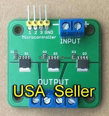 MOSFET breakout board module switch relay (15A, 60V) 3-outputs for  Arduino/RPi