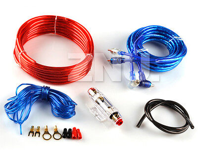 1500W Car Audio Amplifier Subwoofer Power Wiring Kit Set Speaker Wire Cables 8GA