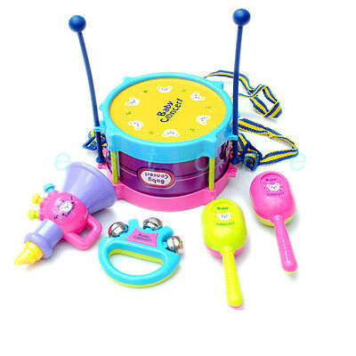 Hot! 5pcs Kids Roll Drum Musical Instruments Band Kit Children Toy Gift Set New