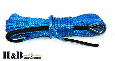 6MM x 15M Dyneema SK75 Winch Rope Blue Synthetic strap 4WD Boat Recovery C0012
