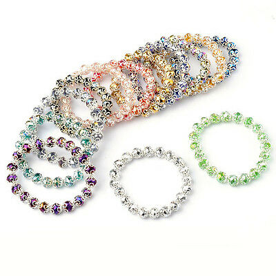 Womens Fashion Faceted Crystal Glass Flower Round Beads Stretchy Bracelet Bangle