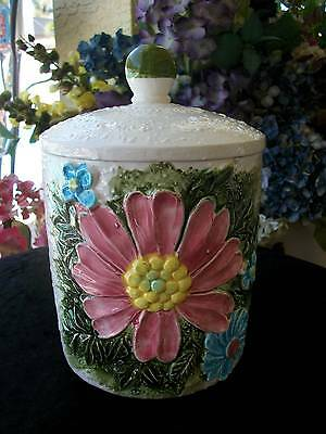 vintage 5192 lefton ceramic CANISTER textured with raised flowers leaves