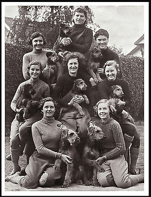 Airedale Terrier Kennel Girls And Dogs Lovely Vintage Style Dog Print Poster