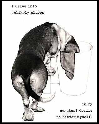 Basset Hound With Head In Trash Can Lovely Comic Dog Print Poster