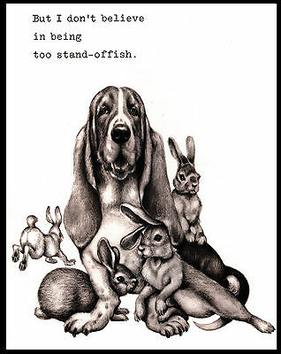 Basset Hound Surrounded By Rabbits Lovely Comic Dog Art Print Poster
