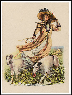 Borzoi Pretty Lady And Dogs On A Windy Day Vintage Style Dog Print Poster