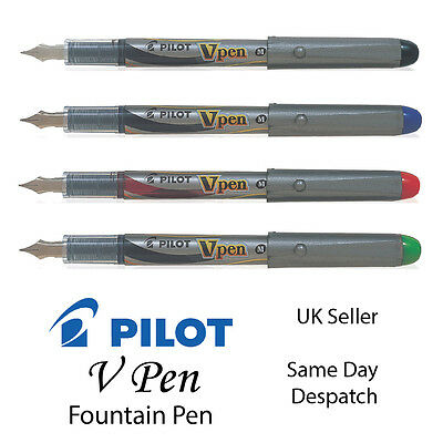 PILOT VPen FOUNTAIN PEN MEDIUM 0.5MM - BLACK BLUE RED GREEN v