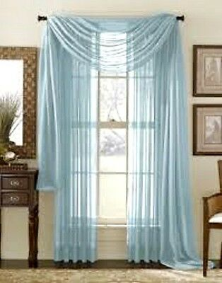 2 LIGTH BLUE VOILE SHEER 1 SCARF VALANCE SOLID PANEL WINDOW CURTAIN SET DRAPE 95
