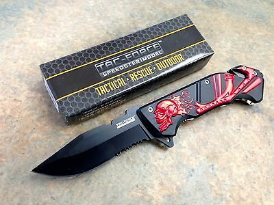 Tac Force Tactical Rescue Assisted Opening Folding Knife Flaming Skull