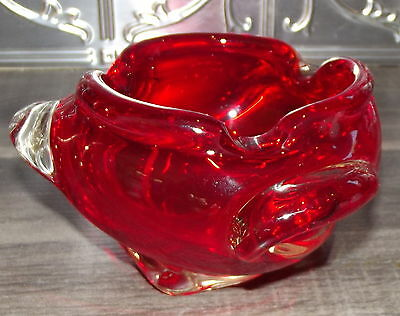 1960's ART GLASS LUSIOUS RED ASHTRAY IN VGC
