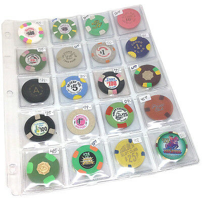 New (2) 20-Pocket Cowen Binder Pages For Collector Casino Chips - Free Shipping*
