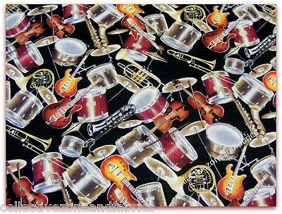 MUSICAL INSTRUMENTS FABRIC~BY 1/2 YD~BAND~GUITARS~DRUMS~HORNS~COTTON~D TEXTILES