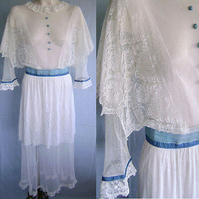 """LARGE SIZE AESTHETIC PERIOD COTTON NET SPIDER LACE DAY TEA GOWN DRESS 30"""" WAIST"""