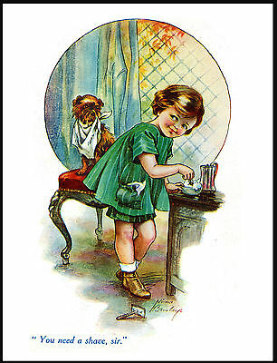 Brussels Griffon Little Girl Shaving Dog Charming Vintage Style Print Poster