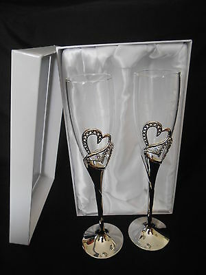Personalised Toasting Champagne Glasses Double Hearts Engraved with your words