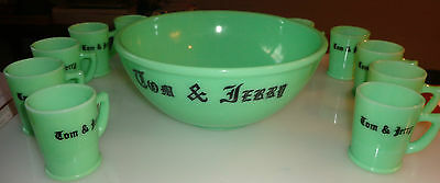 Rare Jadite / Jadeite McKee Tom and Jerry Punch Bowl and 12 Cups