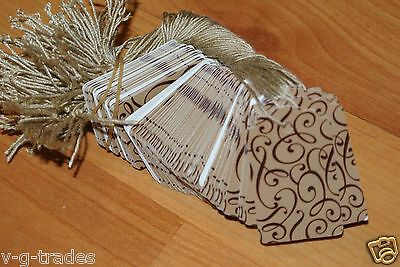 LOT 1000 Scalloped COCOA Print 1 X 1 5/8 Paper Merchandise Price Tags w/ String