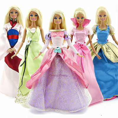 5Sets Wedding Dress Party Gown Clothes For Disney Princess Barbie Doll Good Gift