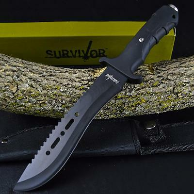 """12"""" TACTICAL HUNTING MACHETE SURVIVAL KNIFE Military Bowie FIXED BLADE w/ SHEATH"""